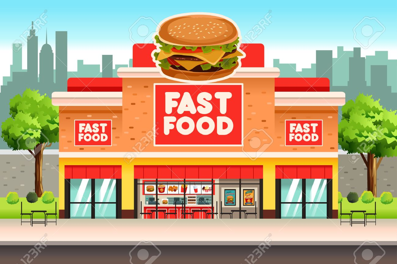 Building cartoon clipart restaurant building and restaurant building - A Vector Illustration Of Fast Food Restaurant Stock Vector 69367031 A Vector Illustration Of Fast Food Restaurant Restaurant Building