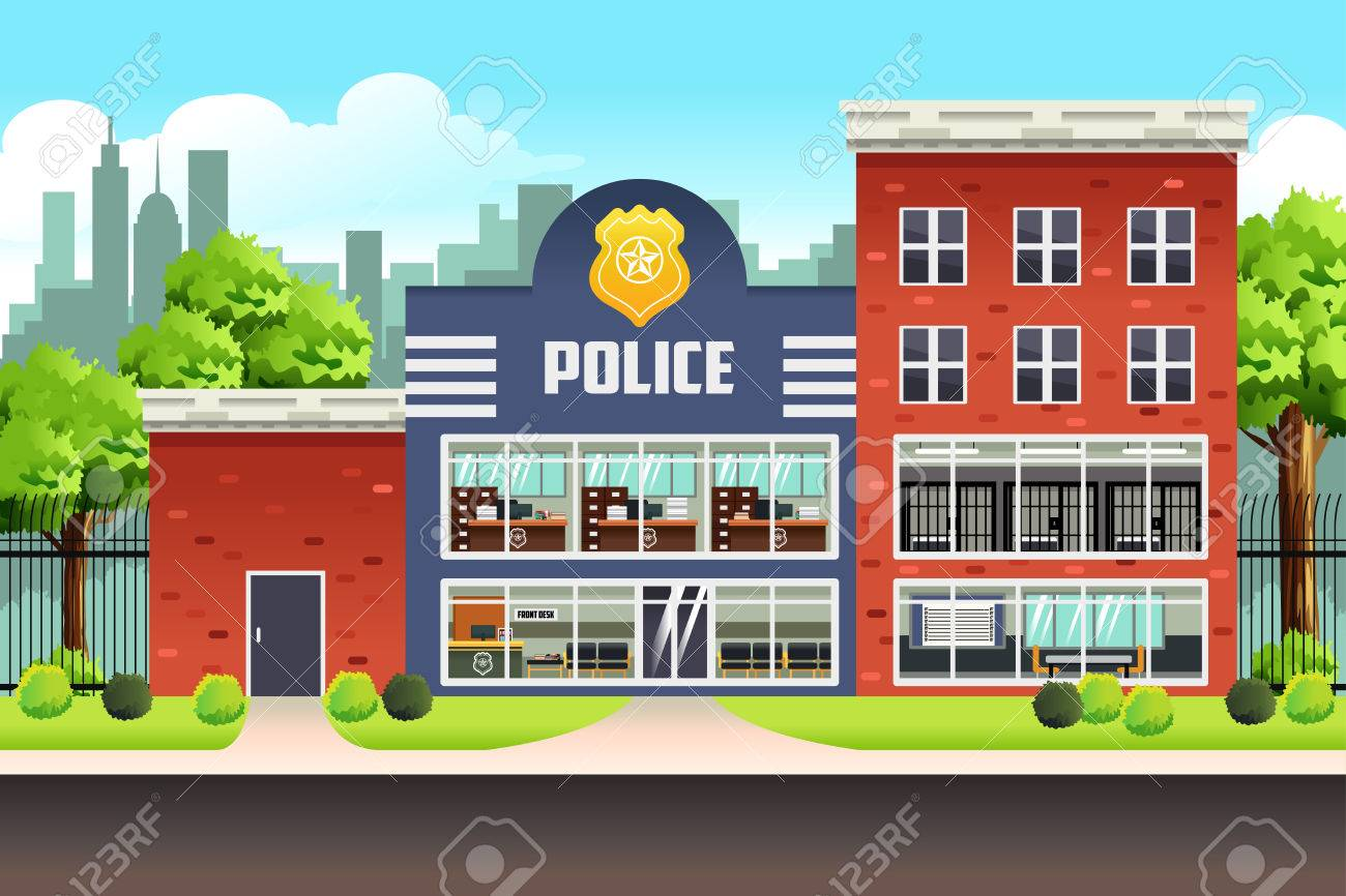 A vector illustration of Police Station - 69367032