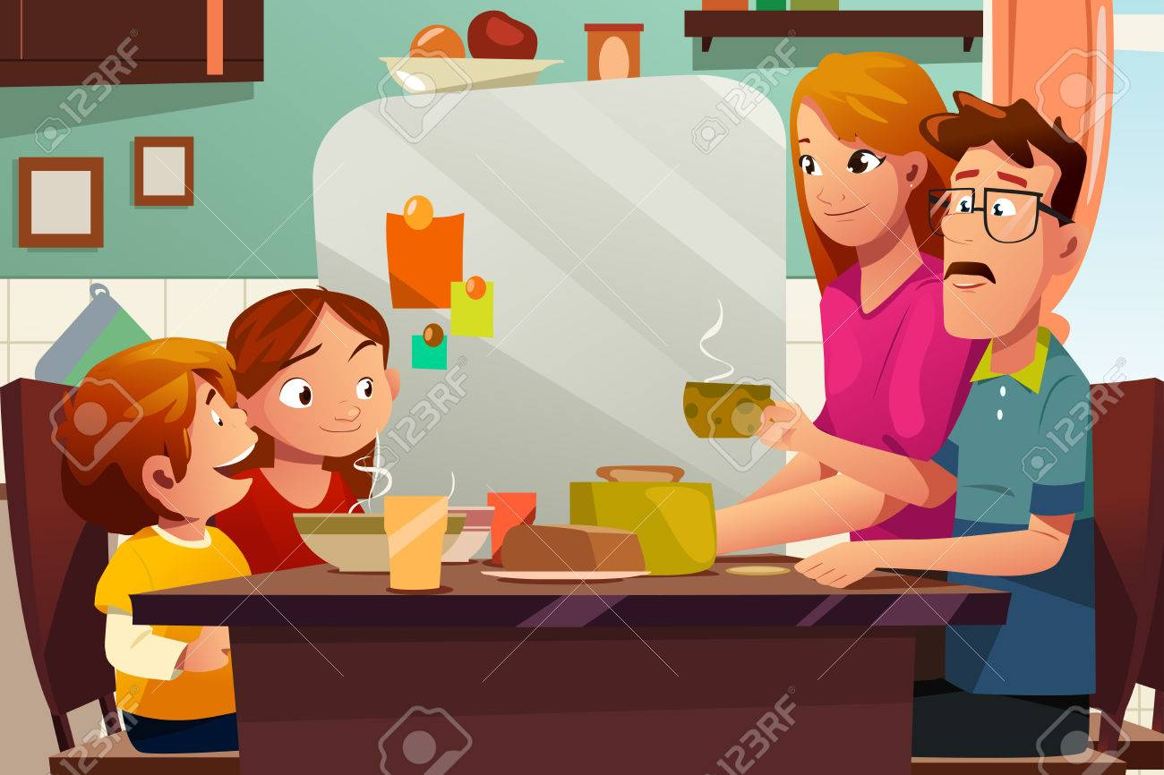 A Vector Illustration Of Family Having Dinner Together On The Dining Table Stock