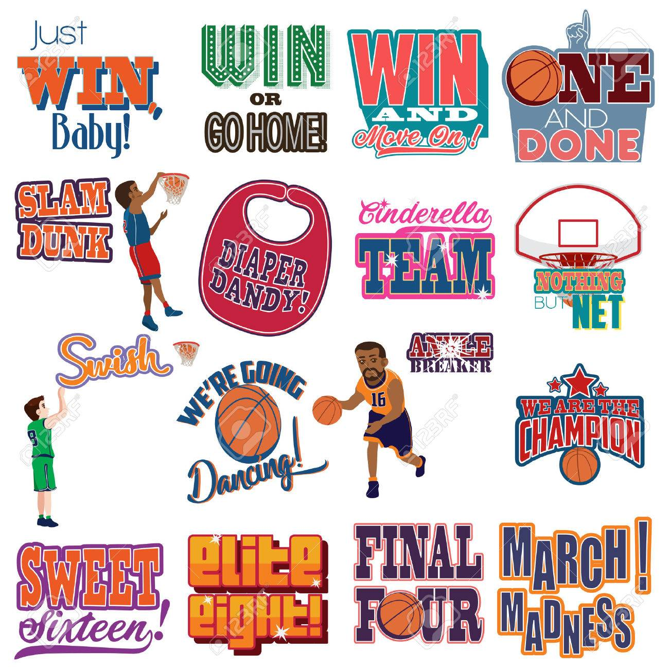 A vector illustration of College Basketball Tournament Icons Cliparts - 72549426
