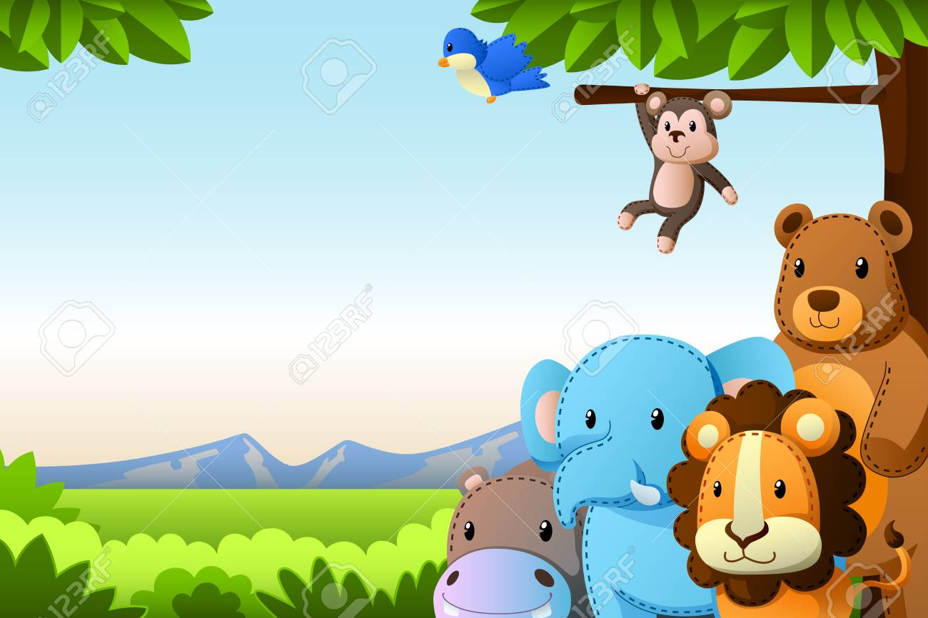 a vector illustration of wild animals background royalty free