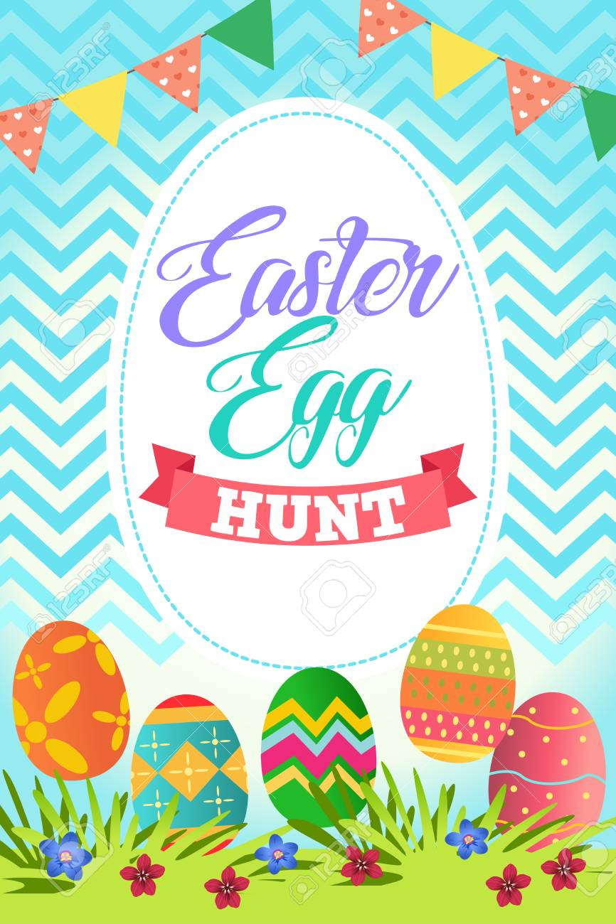 A Vector Illustration Of Easter Egg Hunt Poster Royalty Free Cliparts, Vectors, And Stock Illustration. Image 72901792.
