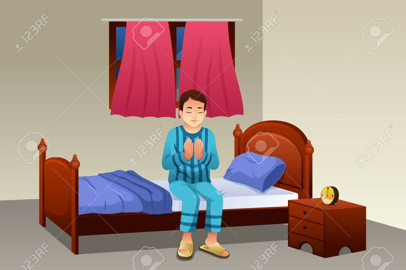 a vector illustration of muslim man praying before going to bed