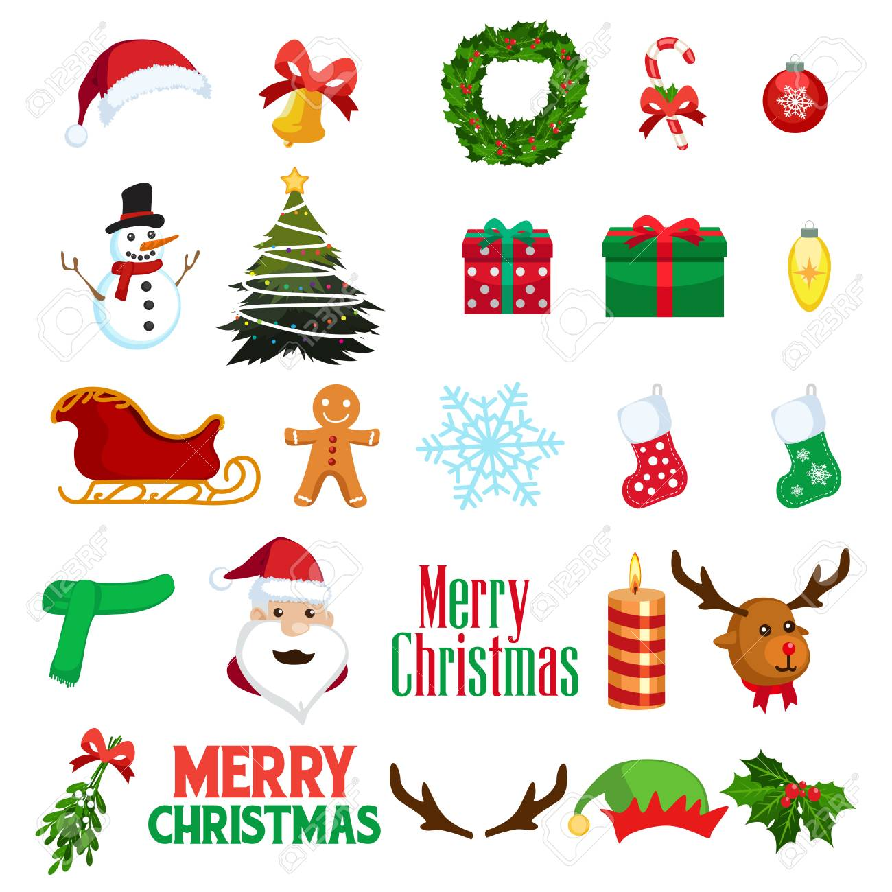 A vector illustration of Christmas Winter Clipart Icons - 78086063