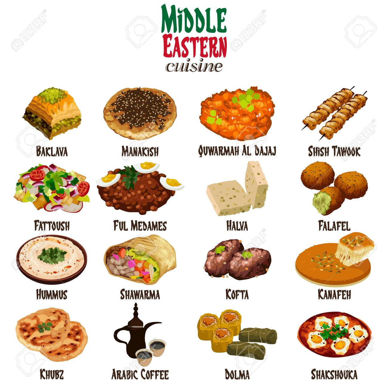Cuisine Illustration a vector illustration of middle eastern cuisine royalty free