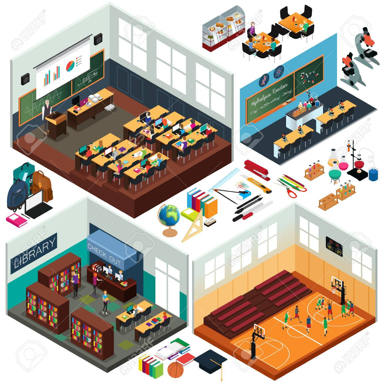 A vector illustration of Isometric Design of School Buildings and Classrooms - 81743029