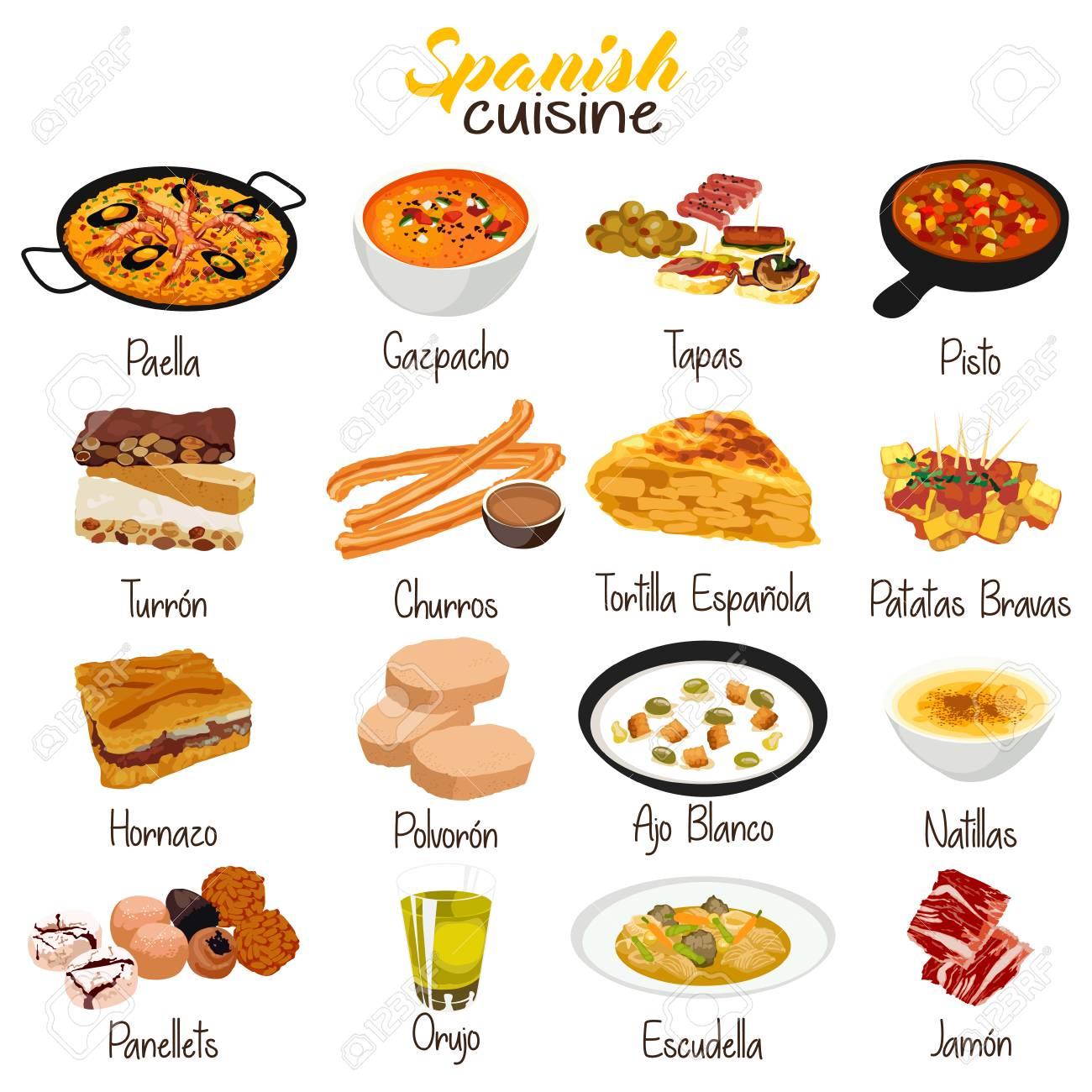 A vector illustration of Spanish Food Cuisine - 90589833