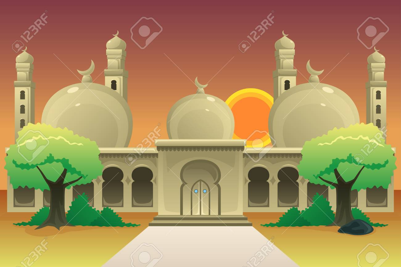 A vector illustration of Islamic Mosque at Dusk - 109972652