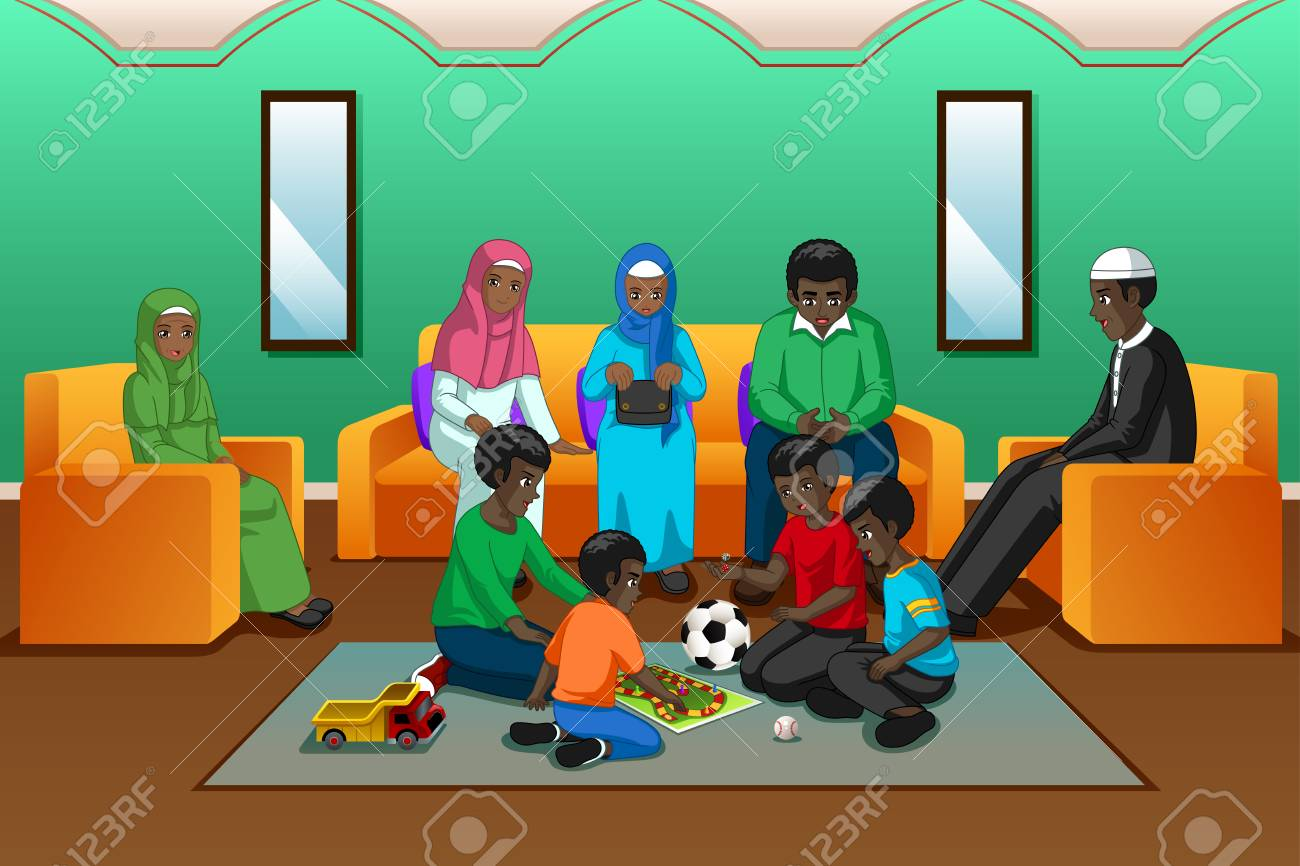 A vector illustration of African Muslim Family Playing in the Living Room - 111590034