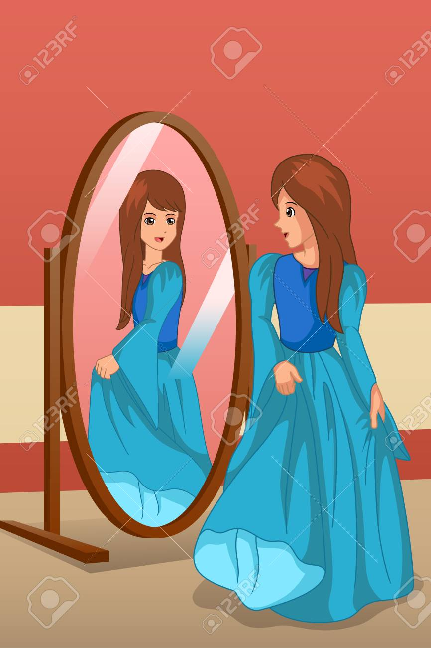 A vector illustration of Girl Wearing a Dress Looking at Mirror - 112049499