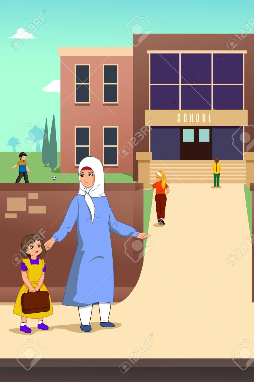 A vector illustration of Muslim Mother with her Daughter in School