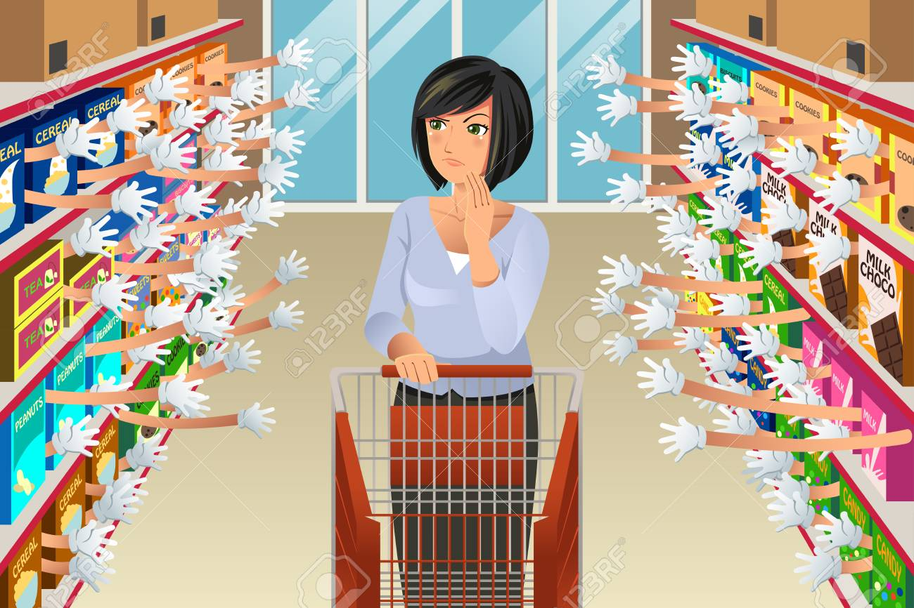 A vector illustration of Grocery Shopping Woman Faced With Too Many Choices - 122840941