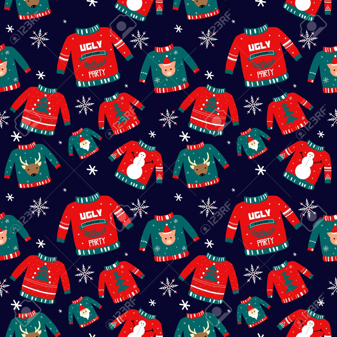 Vector Pattern For Holiday Events As Ugly Christmas Sweater Party Hand Royalty Free Cliparts Vectors And Stock Illustration Image 110644120