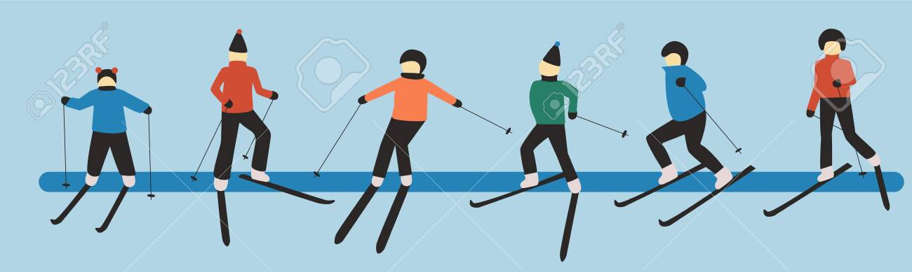 3eff7b66f038 Hand drawn vector art of skiing people  man  woman  child. Winter sport