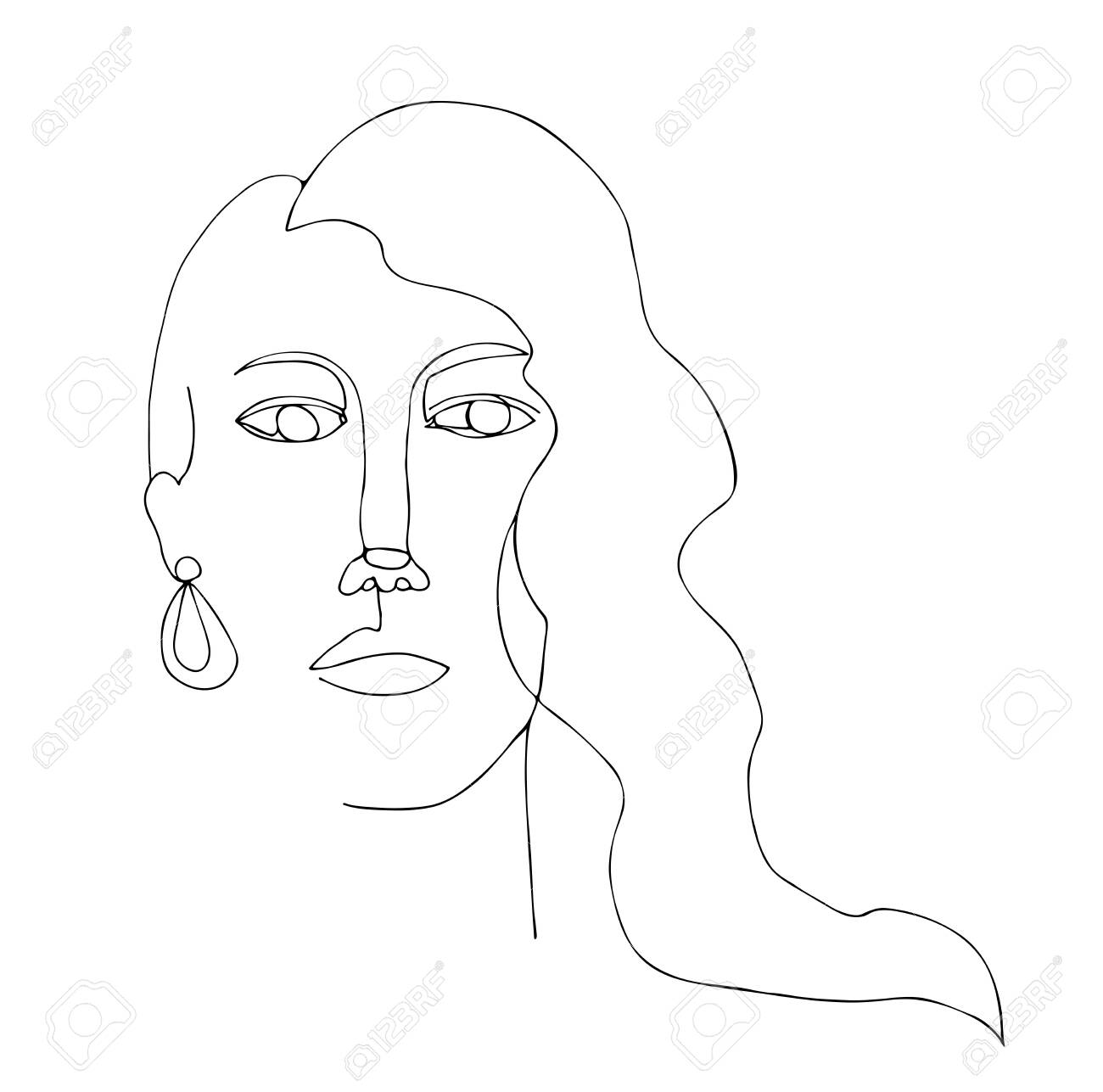 Portrait of woman with long hair continuous line art one line