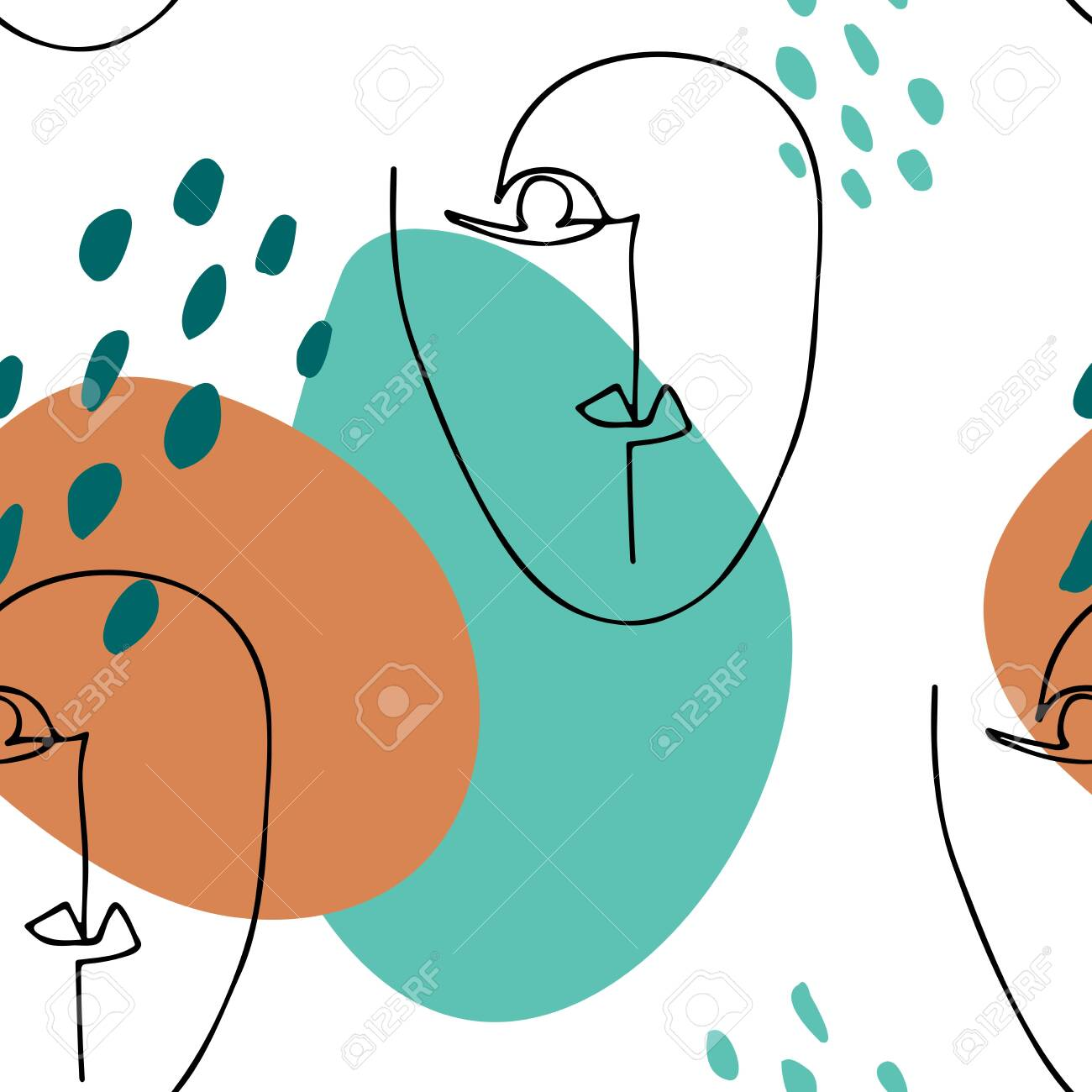 Abstract linear silhouette of human face. Modern poster.Minimalism graphic style. Seamless pattern with overlapping circles and faces - 124150890
