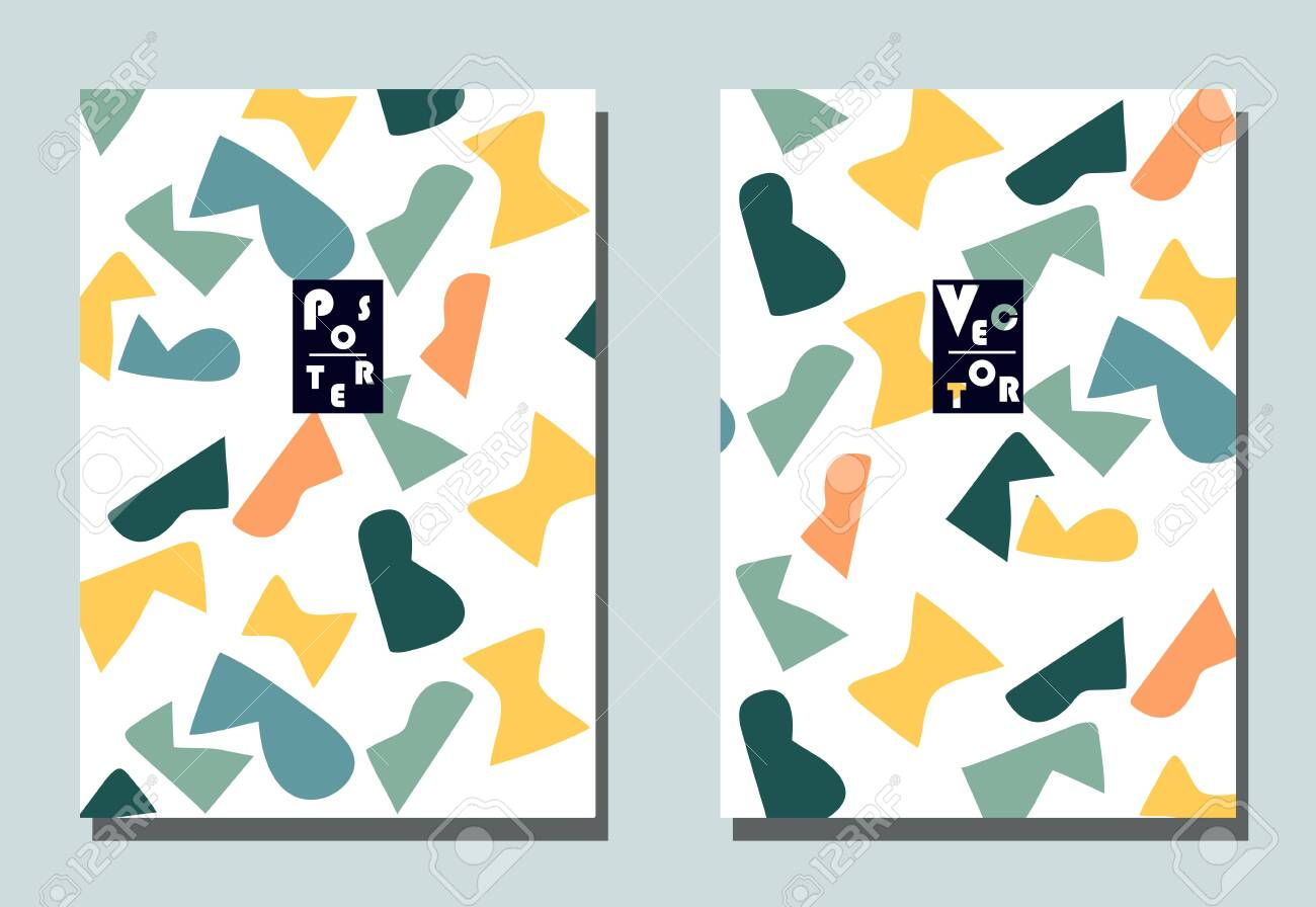 Trendy cover with graphic elements - abstract shapes. Two modern vector flyers in avant-garde style. Geometric wallpaper for business brochure, cover design. - 142895993