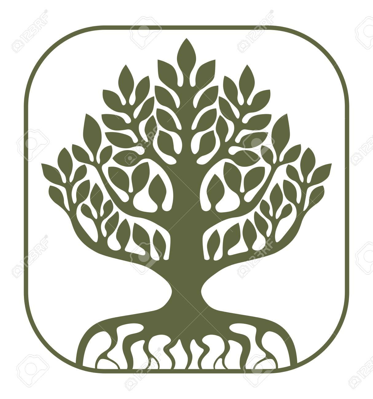 白い背景の上の生命の樹ユグドラシルはベクトル イラストですの