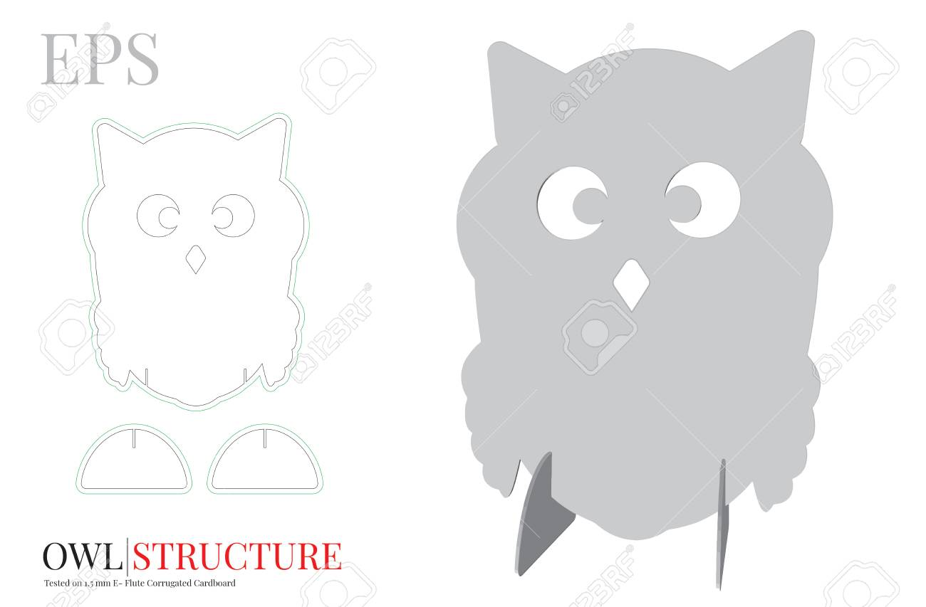 Cute Owl Template Vector With Die Cut Or Laser Cut Layers Owl