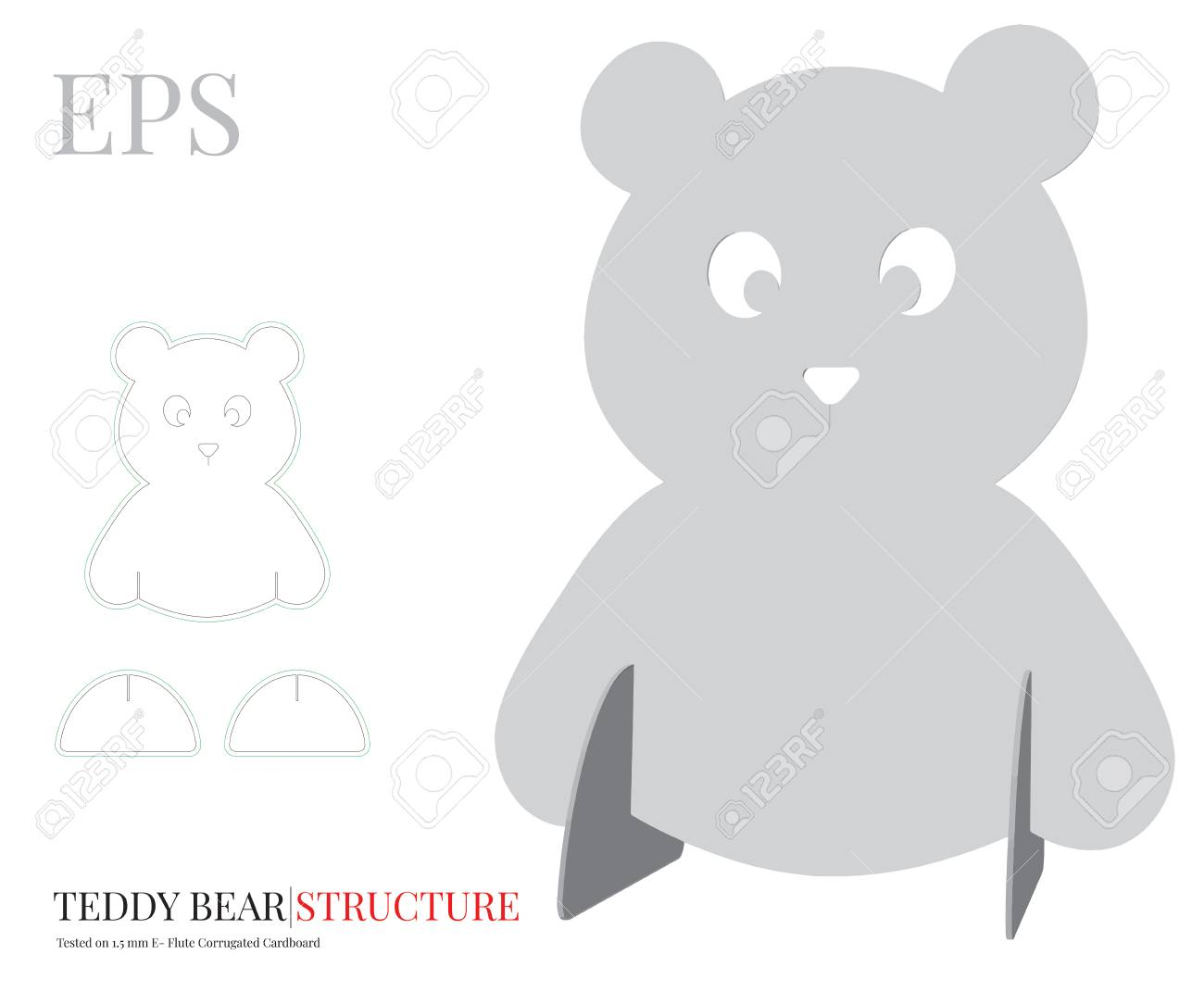 Teddy Bear Template Vector With Die Cut Or Laser Cut Layers Royalty Free Cliparts Vectors And Stock Illustration Image 127394151