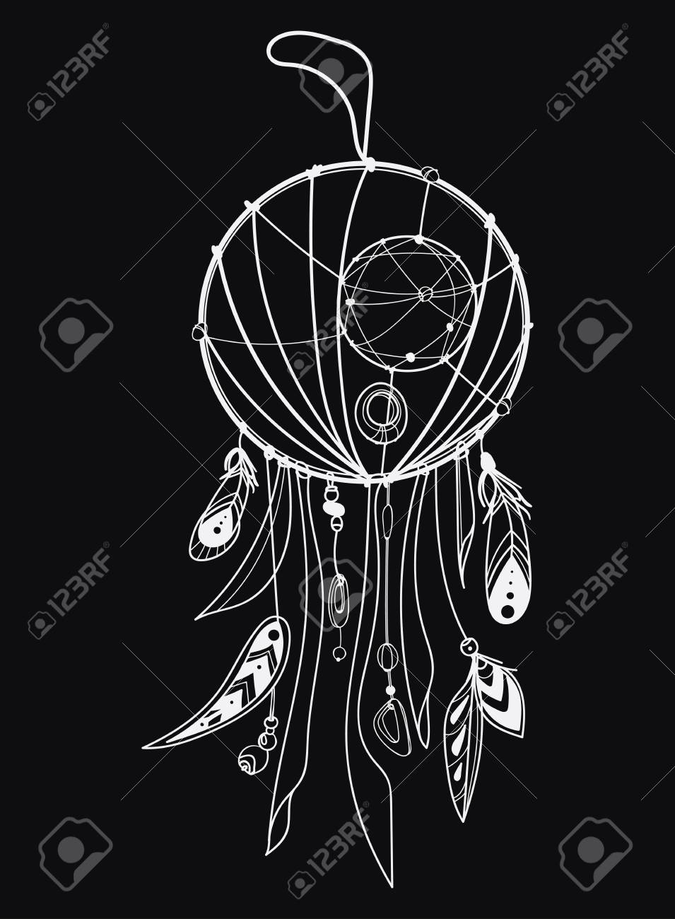 Illustration Vectorielle D Un Capteur De Rêves Avec Des Plumes Totem Indien Avec Des Plumes Décoration Hippie Dessin Noir Et Blanc à La Main Art