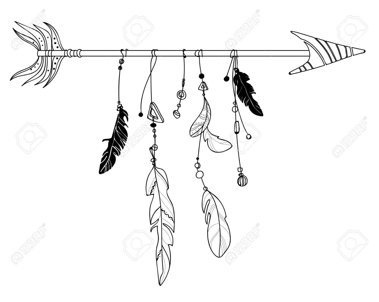 Illustration Vectorielle D Une Fleche Avec Des Plumes Token Stylise