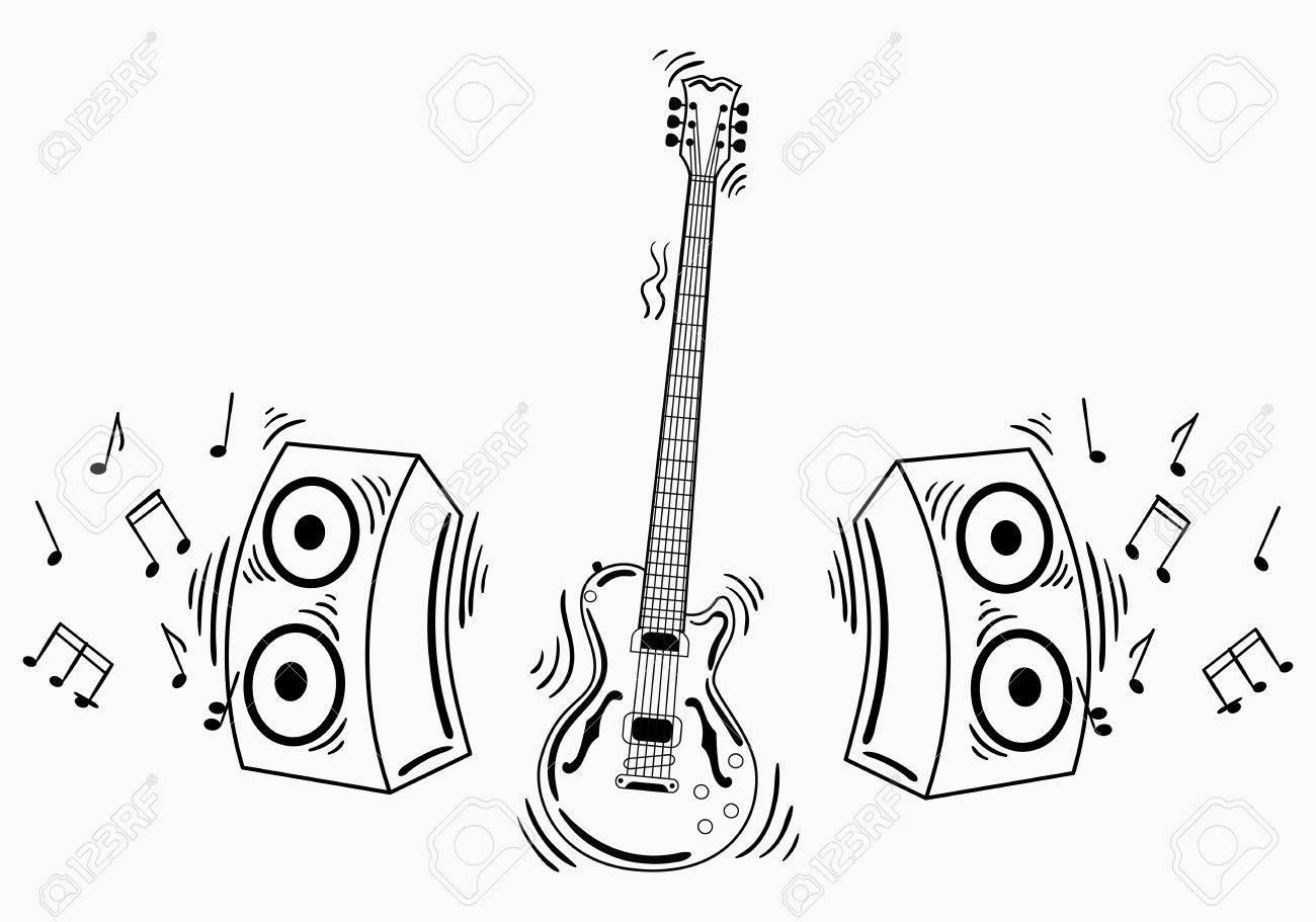 Guitare Electrique Vectorielle Avec Systeme Acoustique Illustration