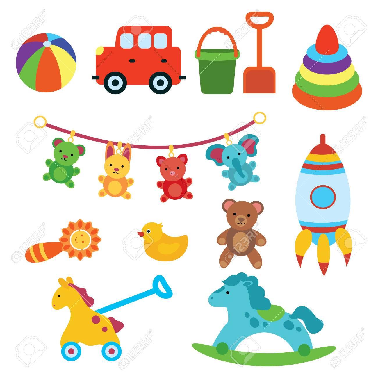 Un conjunto de juguetes para niños. Ilustración para niños. Coche de juguete. Cohete. La pelota. Dibujo de dibujos animados. Art.