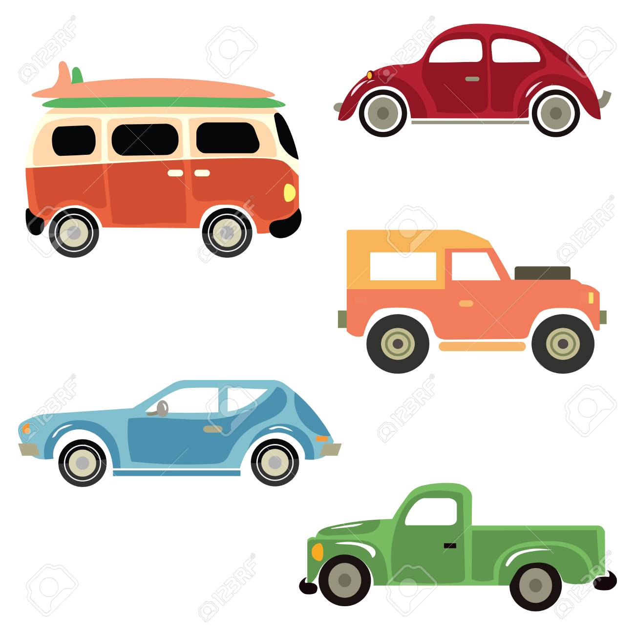 Collection Of Old Cars. Royalty Free Cliparts, Vectors, And Stock ...