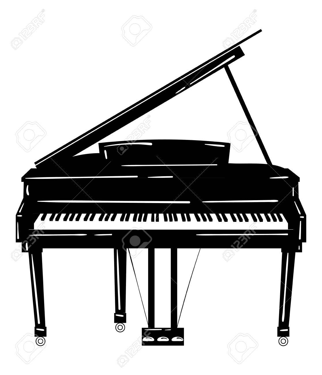 Vector Illustration Of A Grand Piano. Royalty Free Cliparts ...