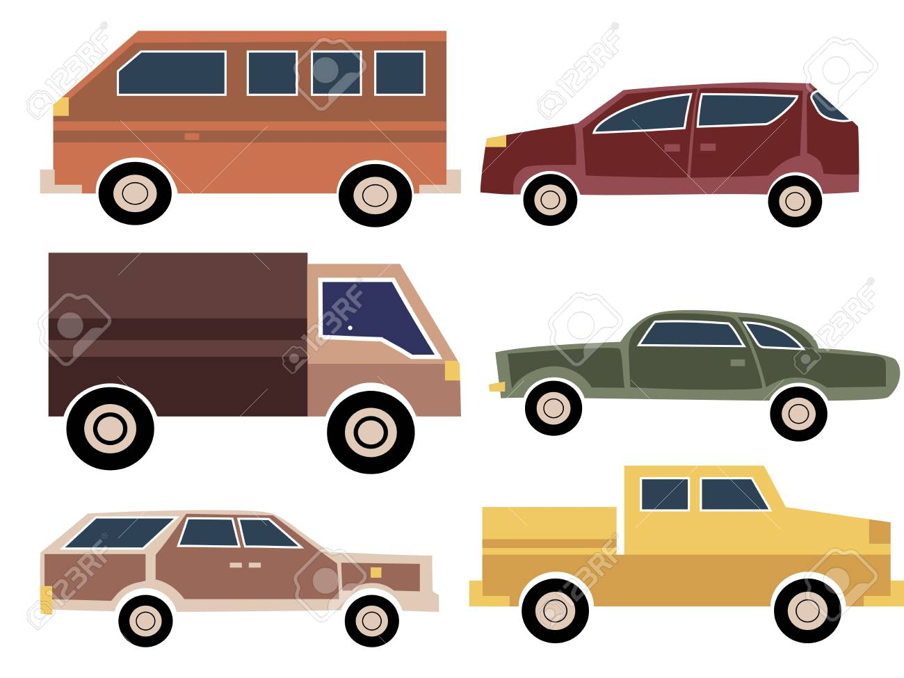 A Set Of Cartoon Cars. Collection Of Old Cars. Truck. Transport ...