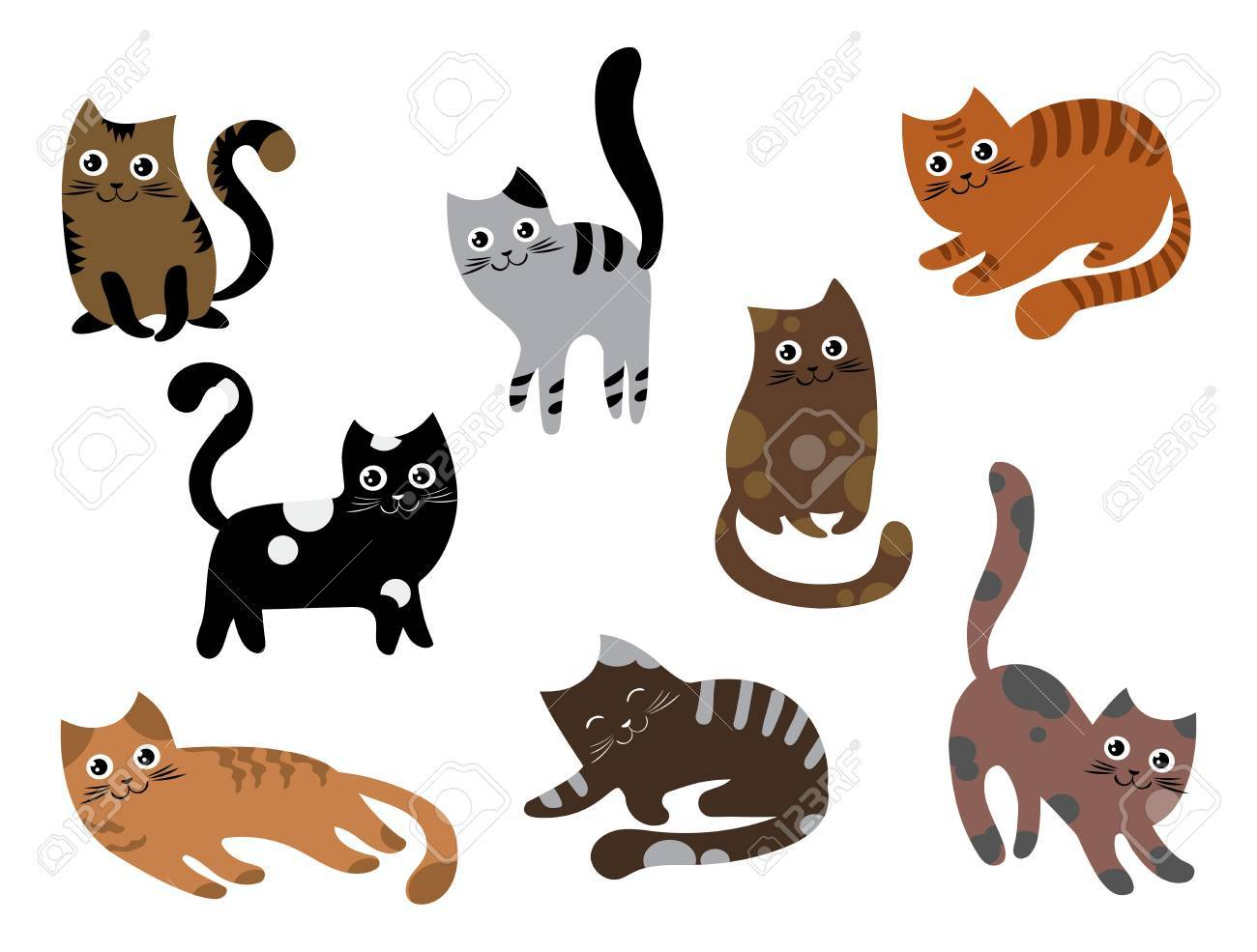 Un Conjunto De Gatos Una Colección De Gatitos De Dibujos Animados
