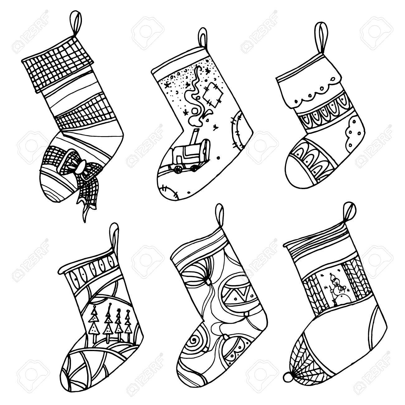 Black And White Christmas Stockings.Set Of Christmas Stockings Collection Of Vector Stylized Winter