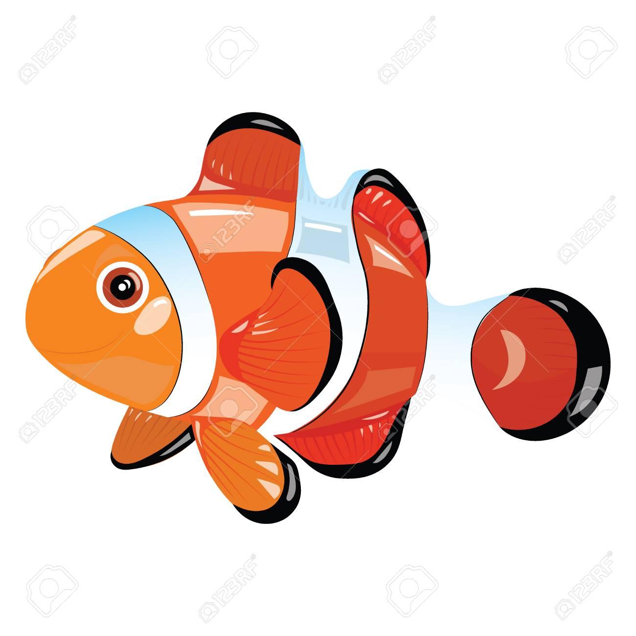 Pez De Dibujos Animados Divertido Pez De Mar Ilustración Vectorial