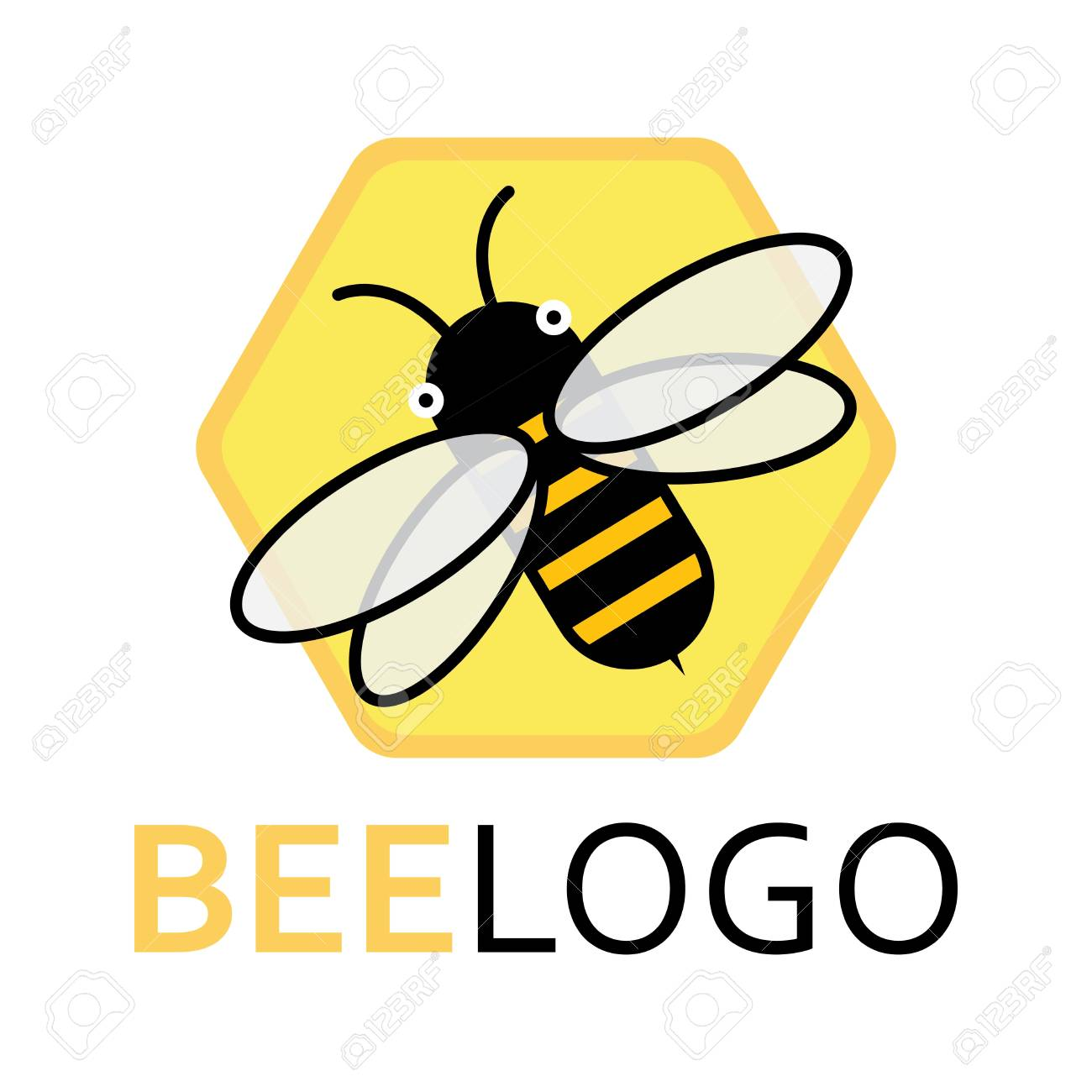 logo of a bee on a honeycomb stylized logo with a honey bee rh 123rf com honey bee look like honey bee lego instructions
