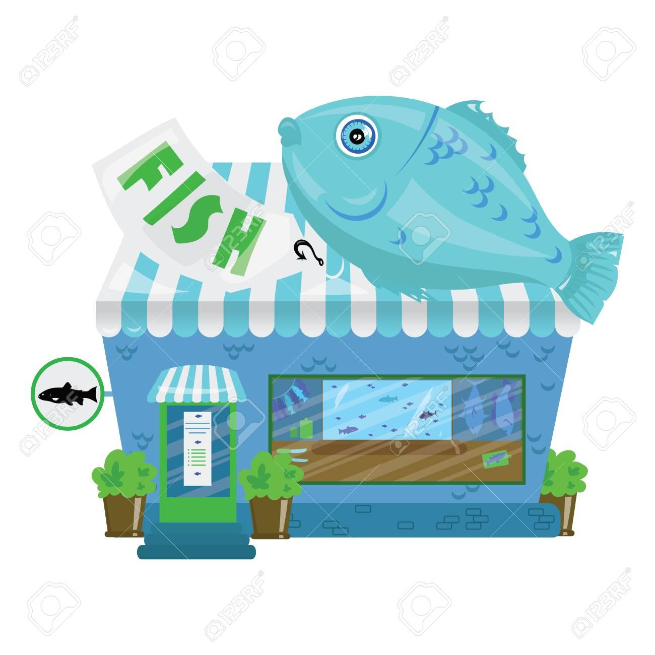 漫画のシーフード店。小さなかわいい魚市場。ビジネス イラストです