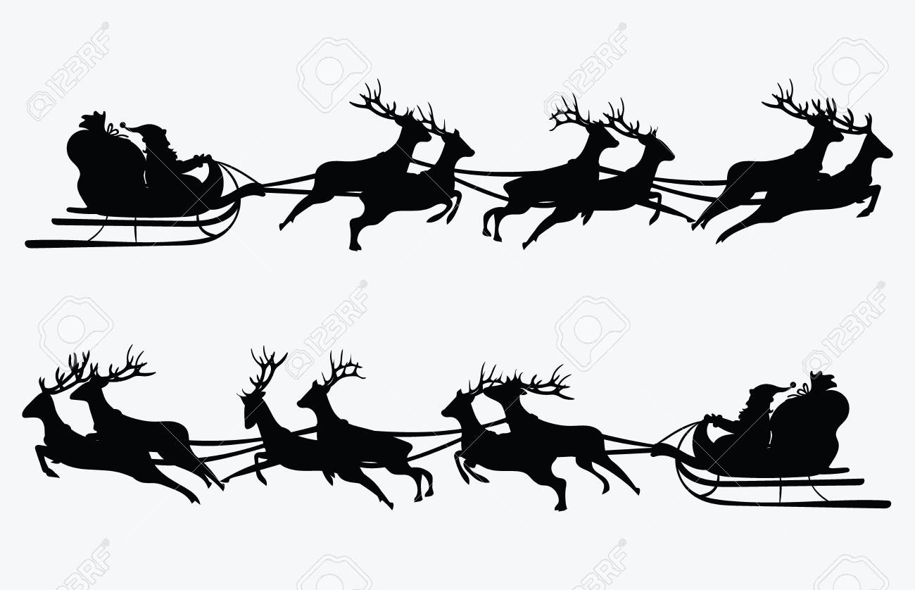Santa Flying In A Sleigh With Reindeer Vector Illustration Isolated Object Black Silhouette