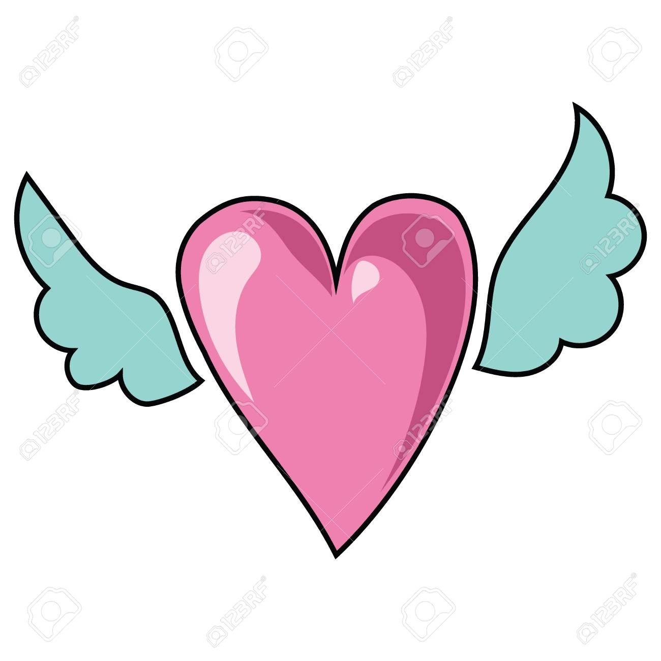 Corazón De Dibujos Animados Con Alas Ilustración Vectorial Para