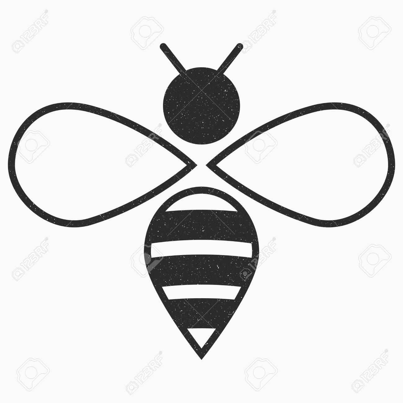 Logo De Labeille Icône Dabeille Noir Et Blanc Illustration Vectorielle Avec Des Croûtes Insecte