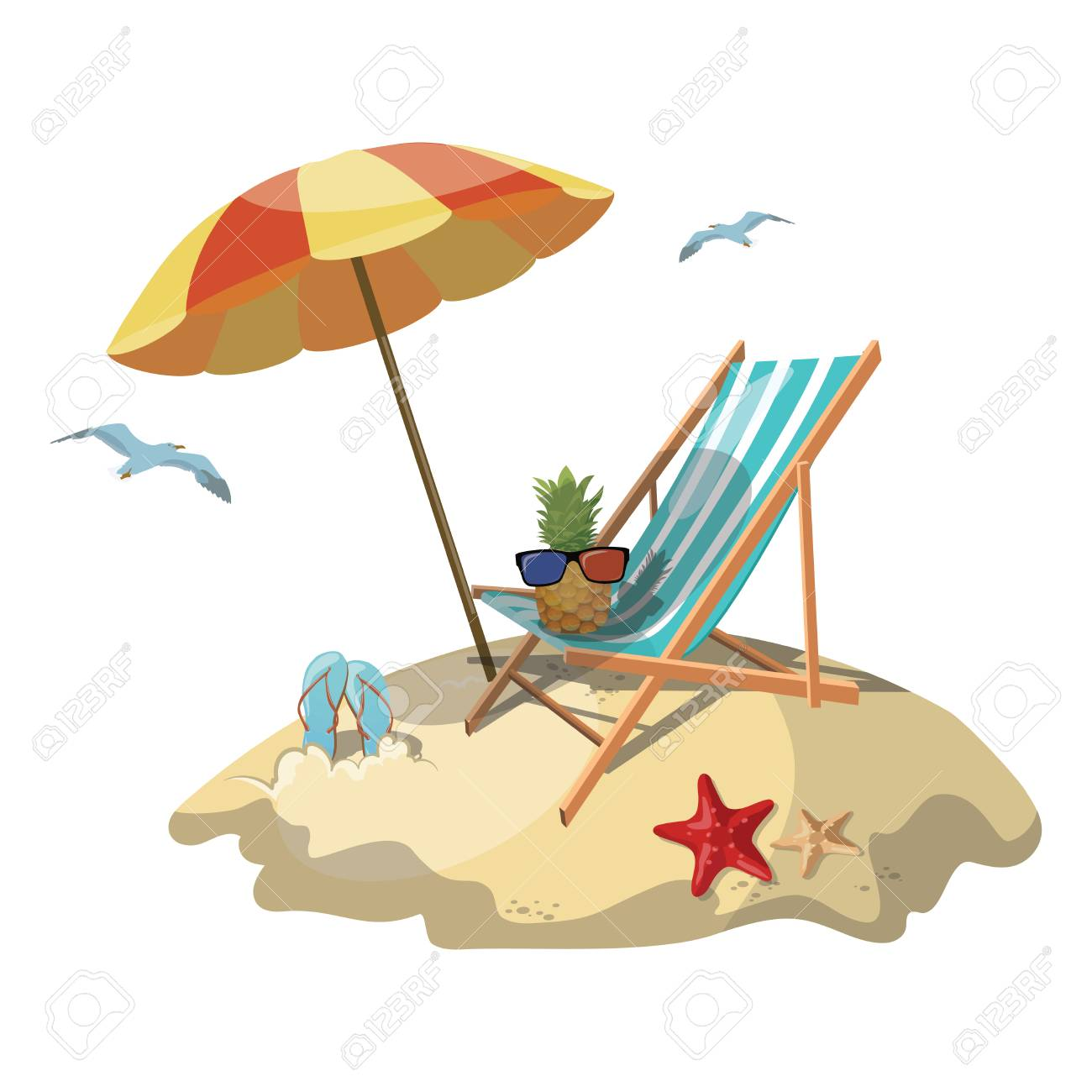 Cartoon Island In The Sea With A Chaise Longue And Surfboard ... on chaise furniture, chaise sofa sleeper, chaise recliner chair,