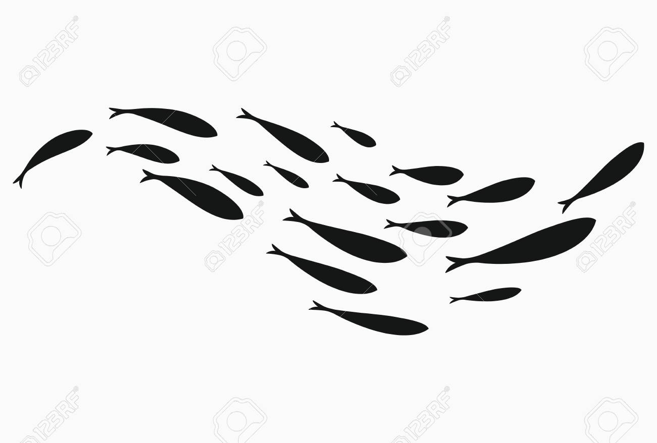 Silhouettes of groups of sea fishes. Colony of small fish. Icon with river taxers. Stylized logo. Black and white drawing of schools of fish. - 103780846