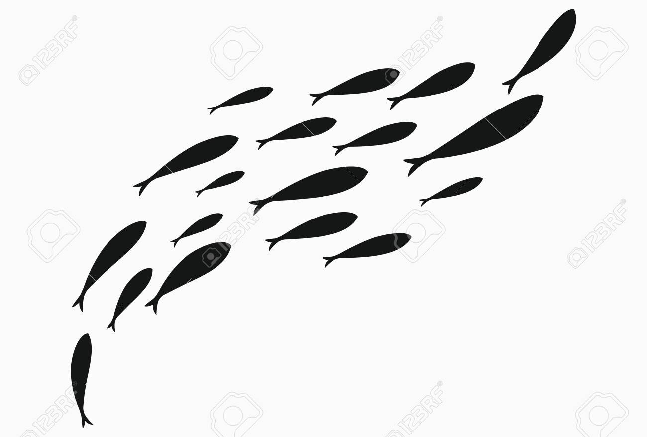 Silhouettes Of Groups Of Sea Fishes Colony Of Small Fish Icon