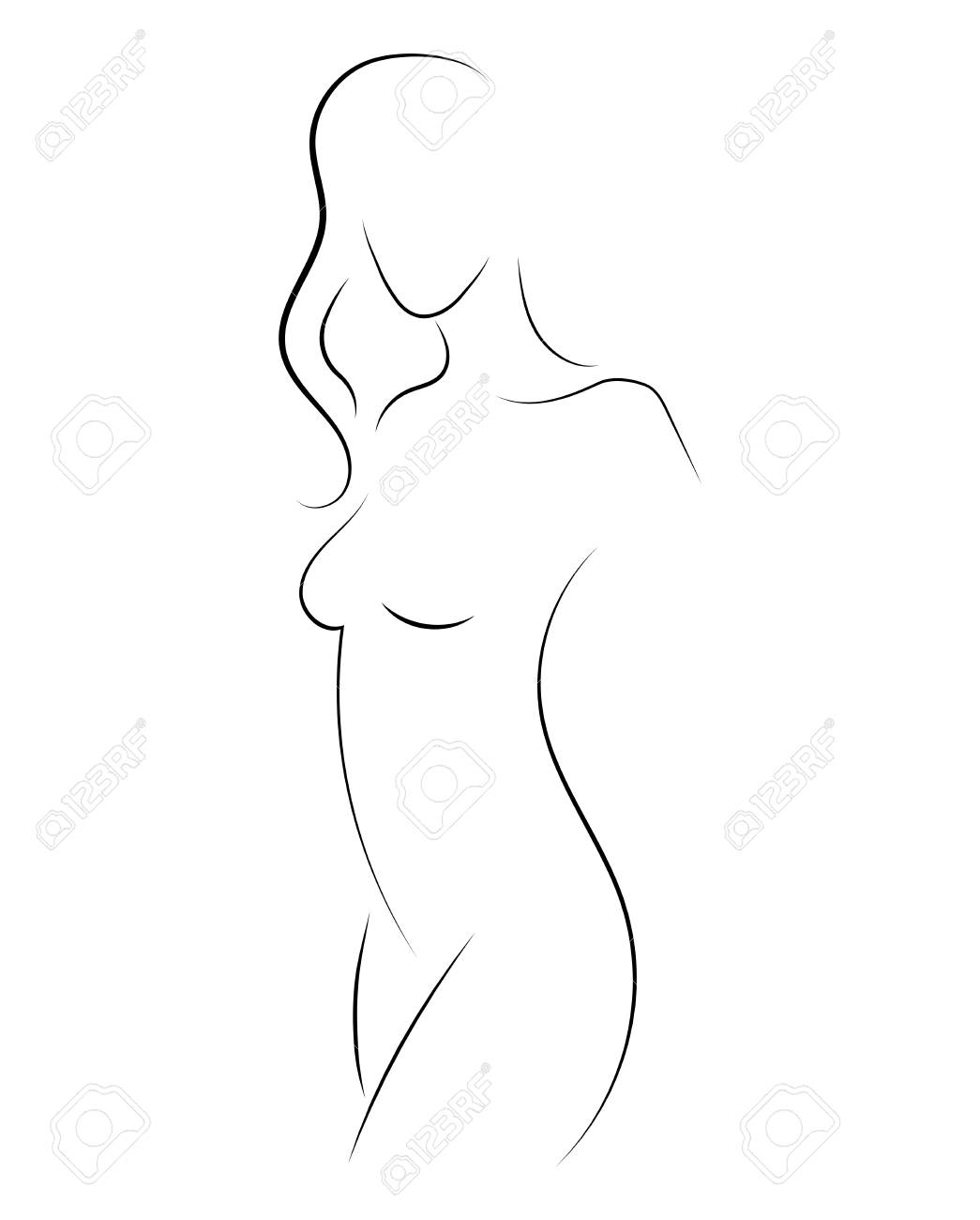 Female figure. Outline of young girl. Stylized slender body. Linear Art. Black and white vector illustration. Contour of a slender figure. - 109077331