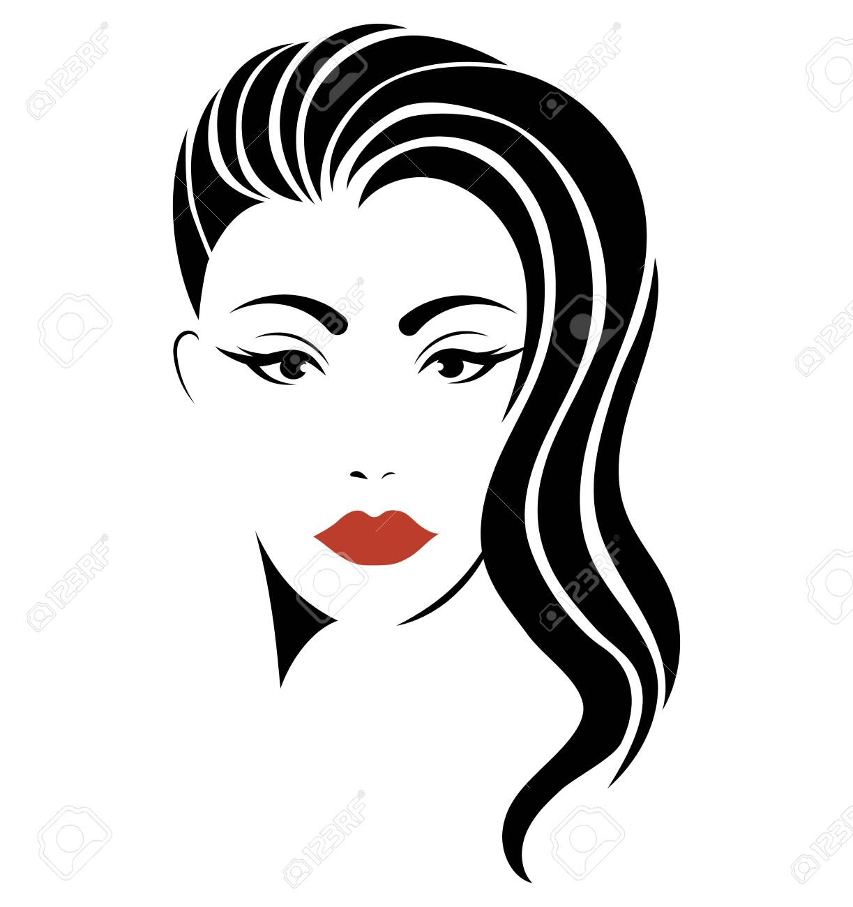 Portrait of a girl. Head of a beautiful girl. Face of a young woman with a female hairdo. Logo for the beauty salon. - 129544527