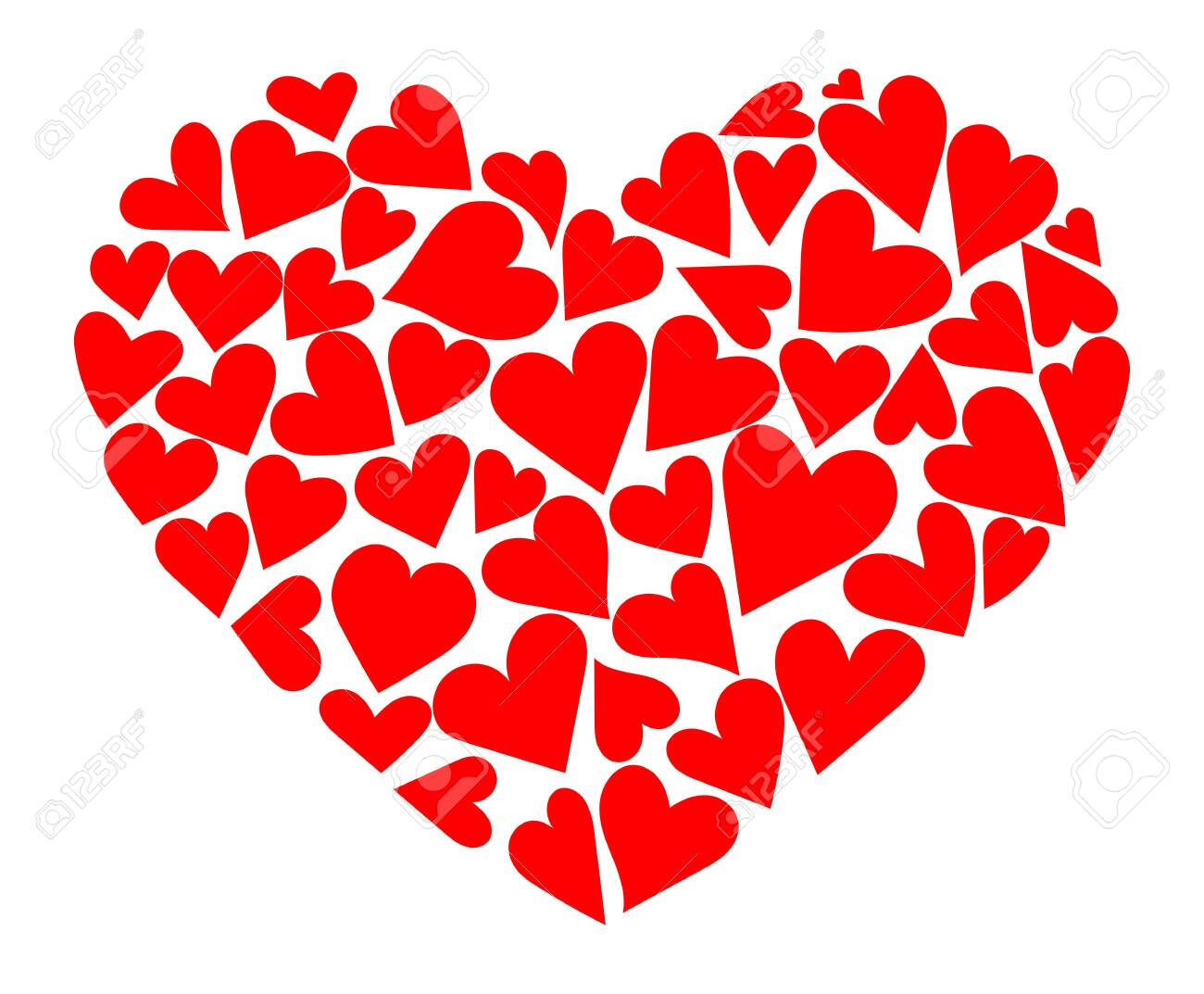 Heart consisting of hearts. Vector illustration to the day of the holy valentine. A symbol of love. - 129544688