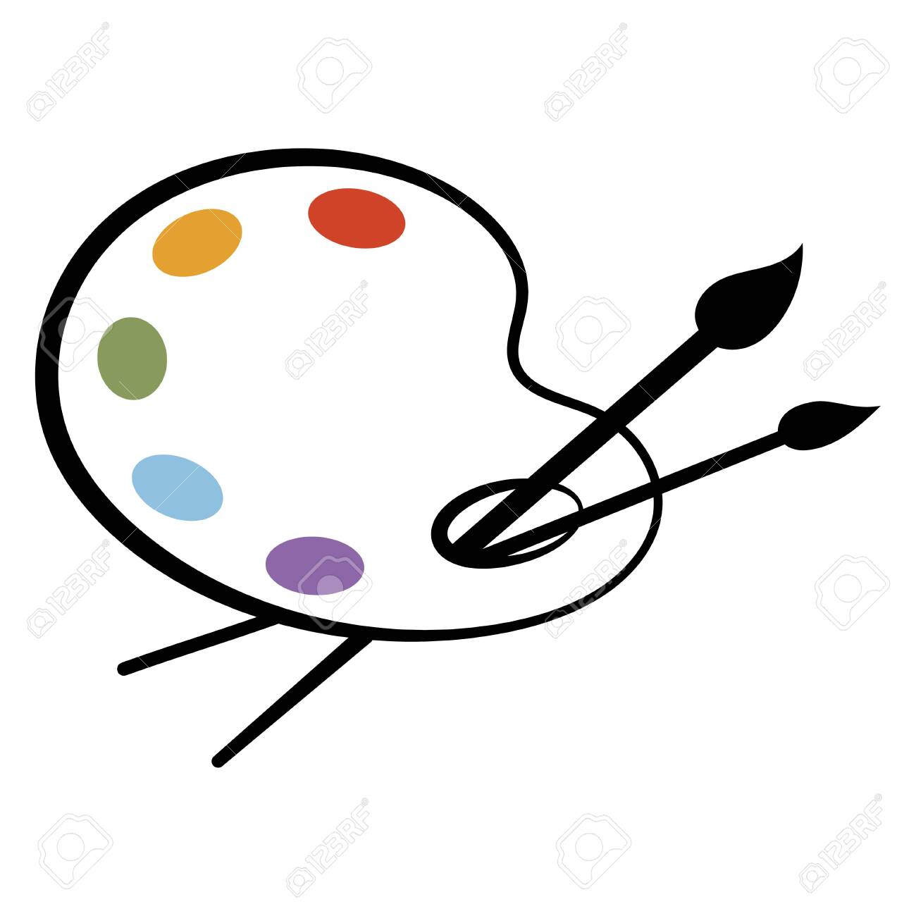 Art palette with paints. Stylized palette. palette with paints. Palette for the artist. Vector illustration for kids. - 129545071