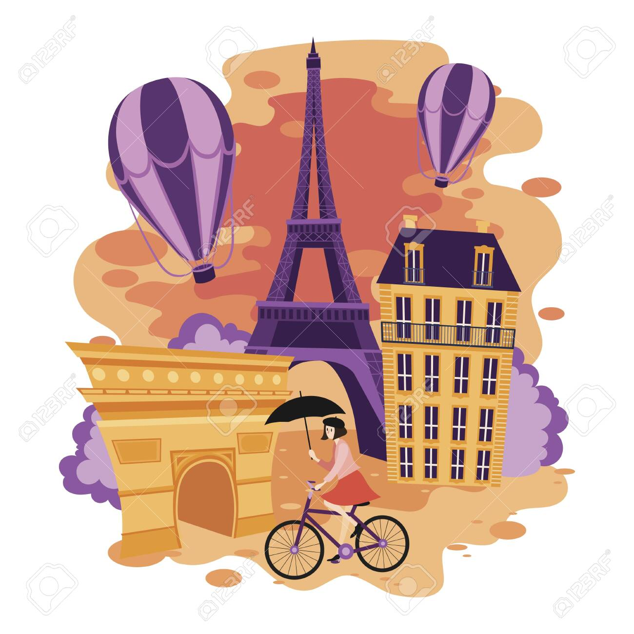 Landscape Of Paris Cartoon Illustration Of The Sights Of France Royalty Free Cliparts Vectors And Stock Illustration Image 129376003