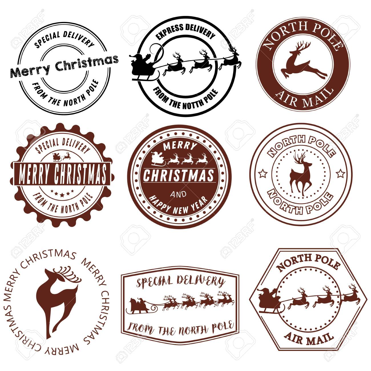 Set of Santa Claus signs. Collection of stamps of the North Pole. Vector illustration of stamps for mail. Christmas Signs. Drawing for children. - 130017262
