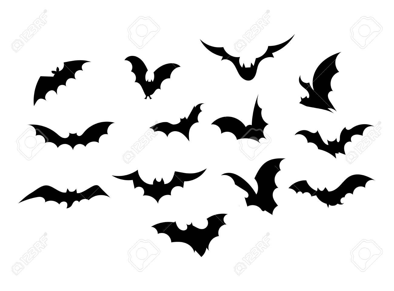 A Picture Of A Cartoon Bat set bats. collection of bats. flying bats. halloween. set of..