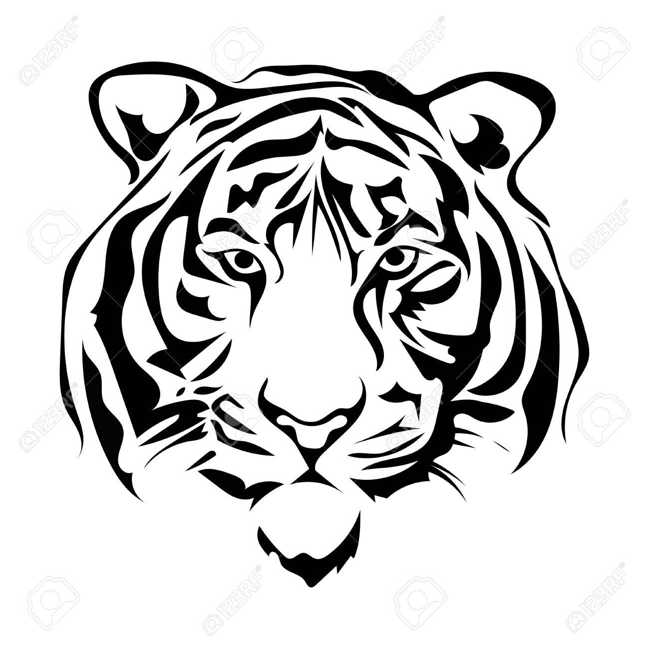 Black white illustration of a tiger head. Portrait of a predator. Tattoo wild cats. - 130391705
